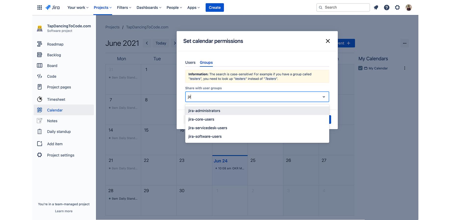 jira calendar share users
