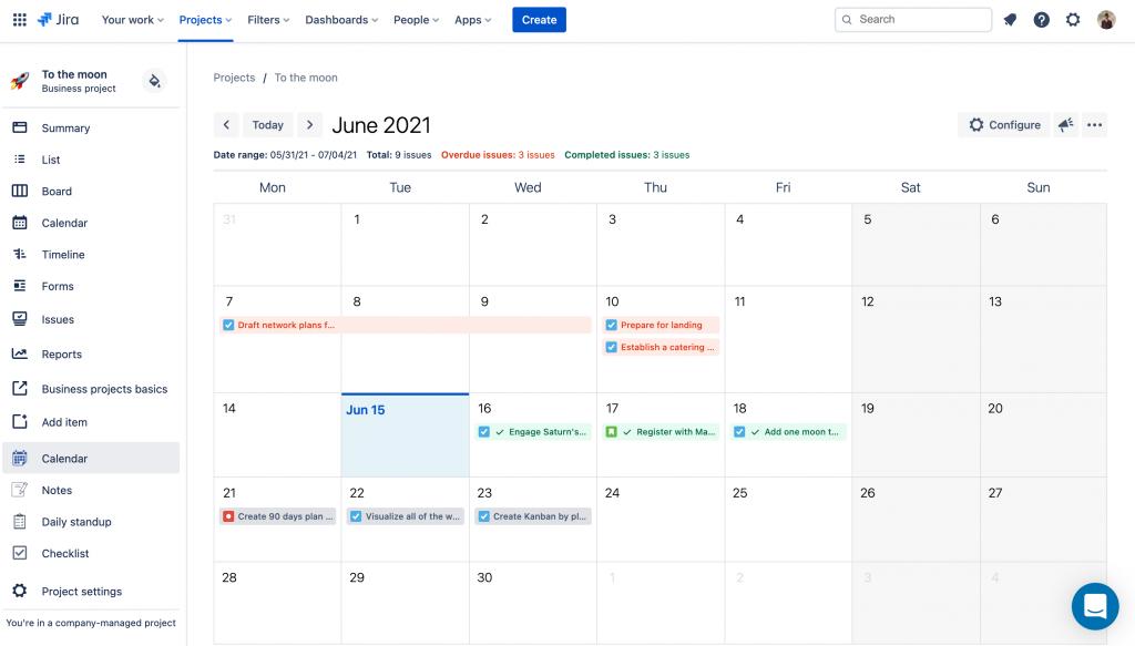 issue calendar for jira