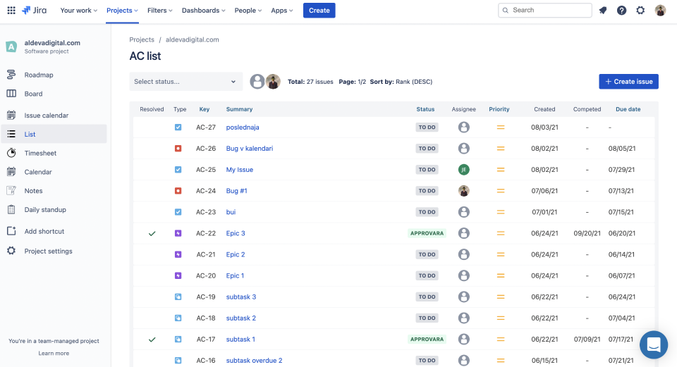List View for Jira