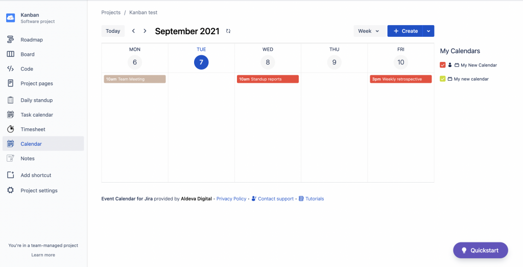 Event Calendar for Jira - Weekly View